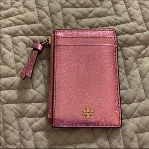 Tory Burch Pink Metallic Card Holder